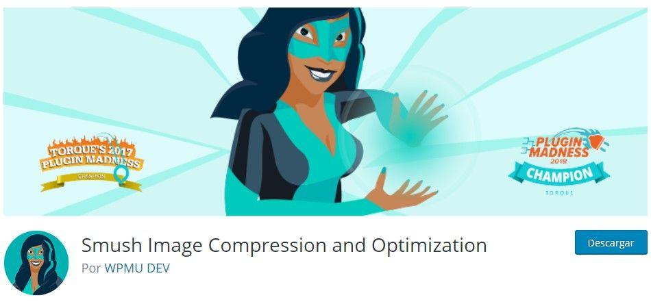 Smush Image Compression and Optimization para optimizar imágenes en WordPress